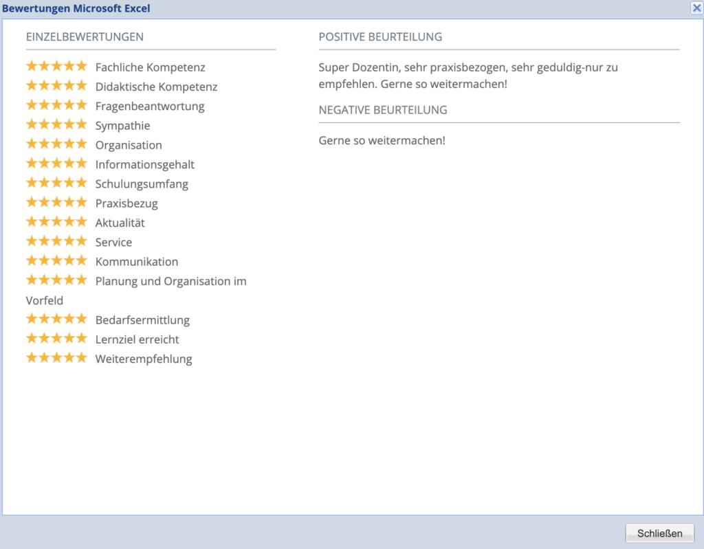 Microsoft Excel #Workshop hervorragende Bewertung
